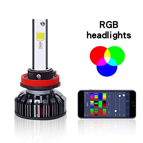 Kit di conversione lampadina anteriore, fari auto 8000lm fari telecomandati colorati, modelli multipli (cambio con musica),H7