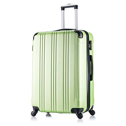 WOLTU RK4208gn-XL Reise Koffer Trolley Hartschale mit erweiterbare Volumen , Reisekoffer Hartschalenkoffer 4 Rollen , M / L / XL / Set , leicht und günstig , Grün (XL, 76 cm & 110 Liter)