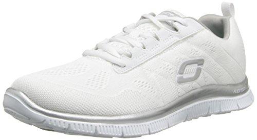 Skechers Flexionar Apelar Senhoras Sweet Spot Sapatilhas Multicoloridos (branco / Prata)