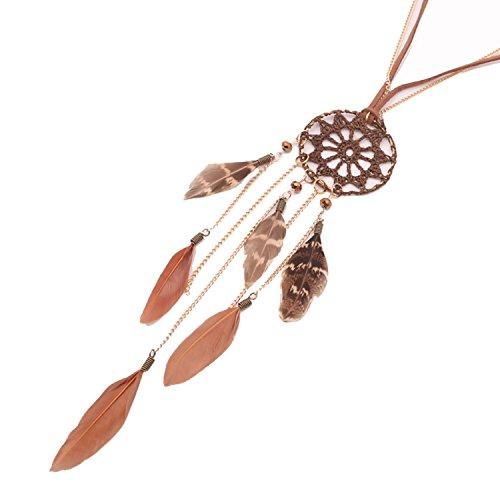 Beyond Dreams Dreamcatcher Kette für Damen | Halskette Schmuck aus Federn | Lange Gold Lederkette mit Feder Traumfänger Anhänger | Braun Leder Indianer Modeschmuck mit Perlen | Geschenk für Damen