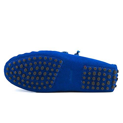Shenduo Scarpe Donna - Mocassini Donna di pelle scamosciata con lacci loafers scarpe casual D7258 Blu