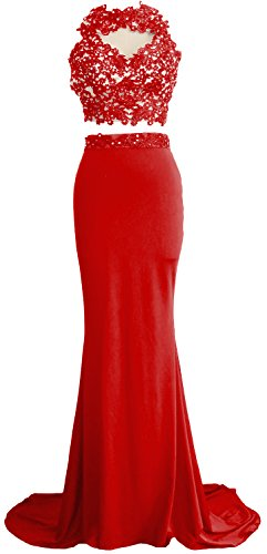 MACloth Women Mermaid 2 Piece Long Prom Dress Lace Jersey Evening Formal Gown red