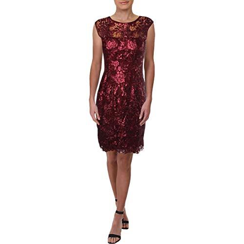 Juwel Ausschnitt Kurze Ärmel Spitze (Adrianna Papell Women's Floral Sequin Embroidered Sheath)