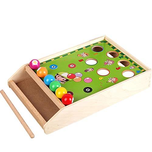 Ocamo Holzspielzeug Holz farblich passendes Spielzeug Tisch Billard Spiel Block Brettspielzeug für Eltern-Kind-Interaktives Spiel Kids Cognitive Training