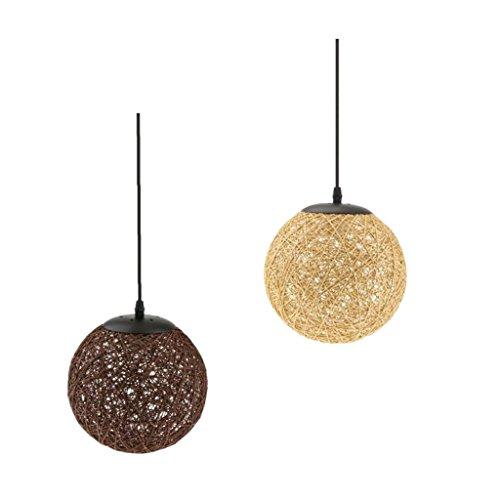 Baoblaze 2pcs Abats-Jour Ronde en Rotin Lumière Forme en Boule pour Chambre Cafétéria Bar Intérieur