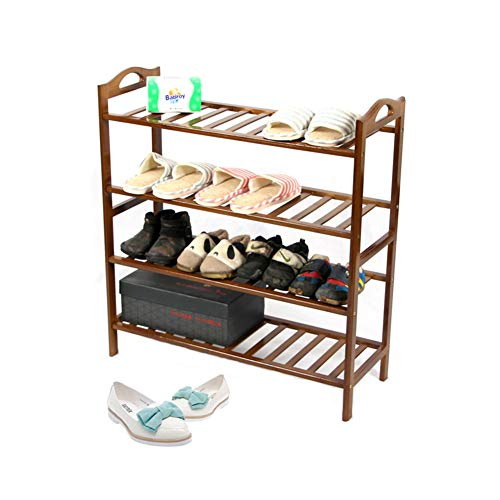 XUE Schuh-Rack, Schuhturm-Schuh-Speicher-Organisator Wechsel Schuhe und Schuhe Einheit Entryway Shelf Stackable Simple Assembly Cabinet mit 4 Tiers Durable Metal Shelves Mall Schuhe Bank Bank,A - 4-tier-rack-einheiten