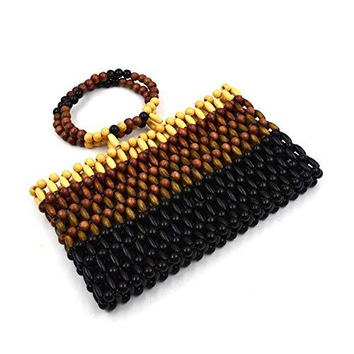 JBAG-one Frauen Handtasche Tasche, Perlen Weave handgemachte Strandtasche, natürliche große Tote,A -