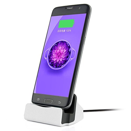 Charger Dock Cradle Desktop Stand with Micro USB Cable Connector for Charge and Sync Data of Samsung Galaxy S7/S7 Edge, S6/S6 Edge, S5, Note 5/4, HTC One or Android Micro USB (Base Phone Desktop Charger)