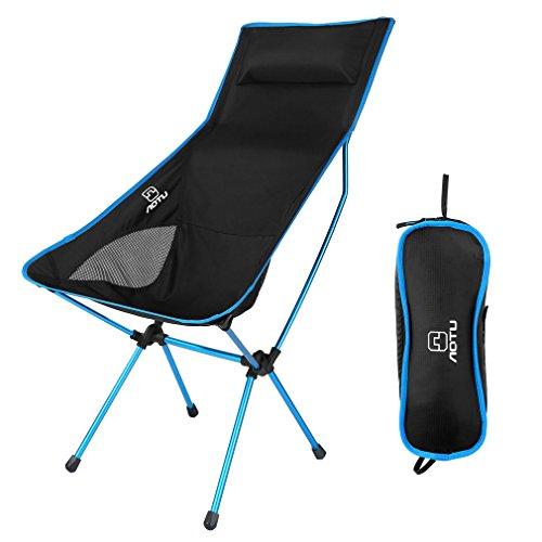 Silla Plegable Camping Ultraligera y Portátil con Bolsa de Transporte para Senderismo, Viaje, Pesca, Playa, Soporte hasta 300kg, Azul