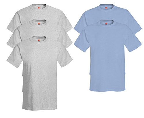 Hanes Comfort Soft Crew Neck 5 Pack Tee (Pack of 5) 3 Ash / 2 Light Blue