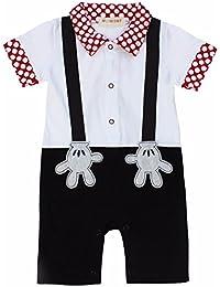 iEFiEL Pelele Casual Hidalgo para Bebé Niña Monos de Bautizo de Una Pieza Modelo de Pantalones de Peto de Algodón