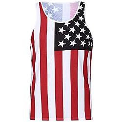 DAY.LIN Débardeur Hommes Gilets Gymnase Drapeau Américain sans Manches Singulet Grande Taille sous-Vêtements Top Sport T-Shirt Blouse(Medium,Rouge)
