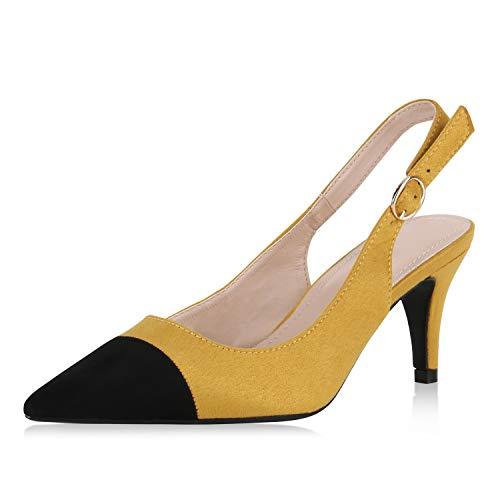 SCARPE VITA Damen Slingpumps Elegante Pumps Wildleder-Optik Slingback Mid Heels Stiletto Party Schuhe Spitze Abendschuhe 175636 Gelb 37 Mid-heel-slingbacks