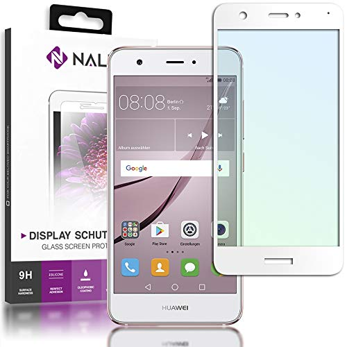 NALIA Schutzglas kompatibel mit Huawei Nova, Full-Cover Displayschutz Handy-Folie, 9H gehärtete Glas-Schutzfolie Bildschirm-Abdeckung, Schutz-Film Clear Screen Protector Tempered Glass, Farbe:Weiß