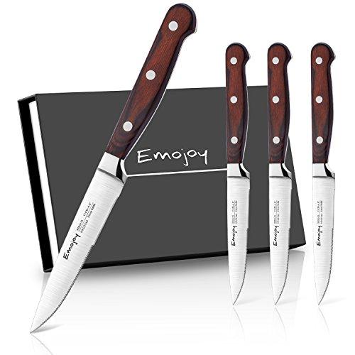 Emojoy Steakmesser, Steakmesser Set, Polierter Rostfreier Edelstahl Steakbesteck mit Beidseitiger Klinge, Ergonomischem Griff aus Pakkaholz, 4-Teilig