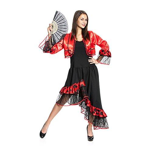 Kostümplanet® Flamenco Spanierin-Kostüm Damen Kleid spanische Tänzerin sexy Faschingskostüm Größe 40 (Spanische Tänzerin Kostüm)