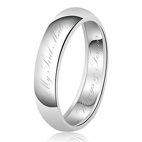 6mm My Soul Mate Always & Forever Engraved Classic Sterling Silver Plain Wedding Band Ring, Size P 1/2