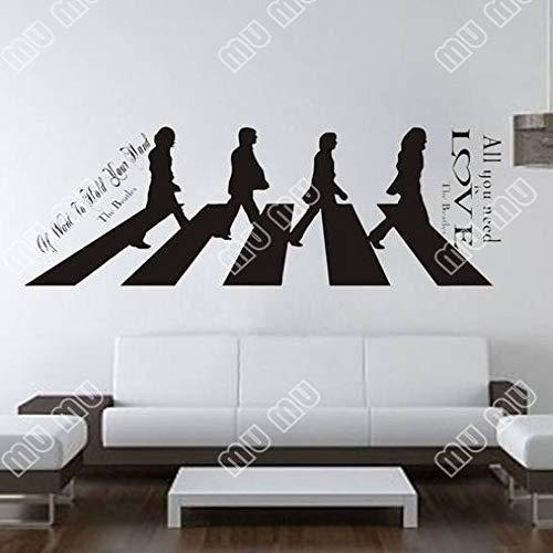 JXMN Die Beatles gingen Wandaufkleber europäischen und amerikanischen Gerüchte Wandaufkleber englische Gedichte 55x150cm -