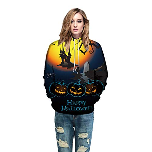 Beginfu Männer Frauen Modus 3D Print Langarm Halloween Paare Hoodies Top Bluse Shirts Herbst/Winter Langarm Hoodie Sweatshirt Jumper mit Kapuze Pullover Kleidung