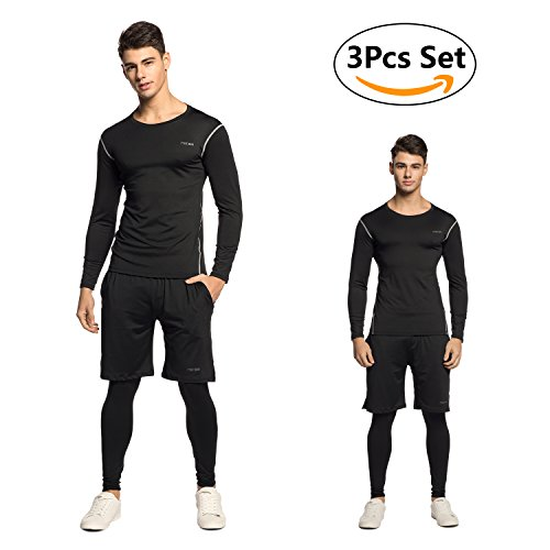 Sportbekleidung Herren,Niksa Fitness Bekleidung Herren,Sport 3er Set Kompression Shirt/Leggings/Sport Hose für Training Gym Outdoor Joggen Fitness[3 stücke](Long Sleeve(163515),XL)