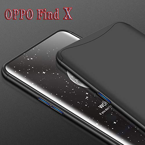ZSCHAO Oppo Find X Hülle Oppo Find X 360 Grad Hülle Ultra Slim Case Dünn stossfest handyhülle 3 in 1 Hardcase +[Panzerglas] Hybrid Case Matt Hülle Schutzhülle Cover für Oppo Find X (2018)(Schwarz)