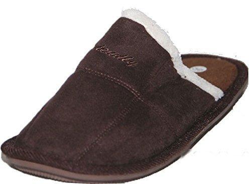 cedric Stone Gentile Accogliente Uomo Velluto E Brown Pantofole Pantofole Y18Tq