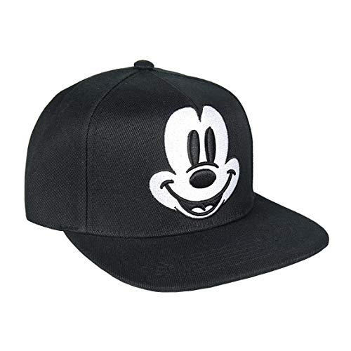 ARTESANIA CERDA Gorra Visera Plana Mickey Black, Niños, Negro, M (Tamaño del Fabricante:59)
