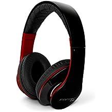 Fantec SHP-3 - Auriculares stereo con micrófono, de diadema cerrados, con correa acolchada y auriculares acolchados y transpirables, altavoz de 40mm, cable de 1.2m, conector jack 3,5mm, color negro y rojo