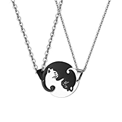 Idea Regalo - JewelryWe Gioielli 2 Pezzi Collana Uomo Donna Coppia Fidanzati Amicizia Ciondolo Gatto in Acciaio Inossidabile DIY, Regalo San Valentino Natale, Yin And Yang, Taichi Matching, Black And White