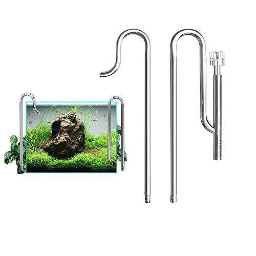ZNN Metall Lily Rohr - Edelstahl Aquarium Wasser Oberfläche Skimmer Filter Abfluss und Zufluss Rohr Kit für Aquarium Pflanzung, Silber, 12mm -