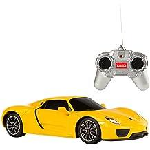 Rastar - Porsche 918 Spyder, coche teledirigido, escala 1:24, color amarillo