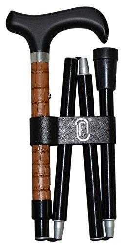 finna piel - bastón plegable y regulable de aluminio con encaje interno y adorno en piel marrón