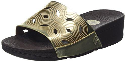 FitFlop Damen Bahia Slide Sandalen Goldfarben