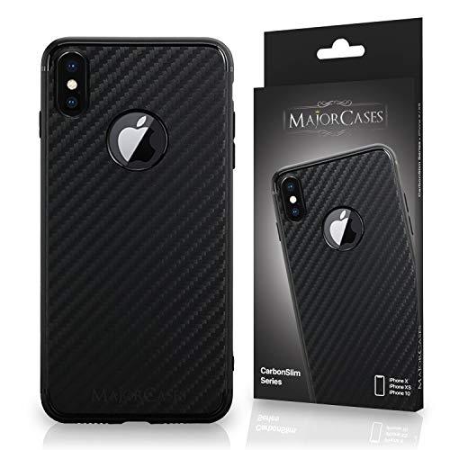 MajorCases ® Premium Schutzhülle aus flexiblem Silikon – Makellose Carbon und Kohlefaser Optik zum Aufwerten und Schützen des Apple iPhone X - Tausend begeisterte Kunden (Schwarz)