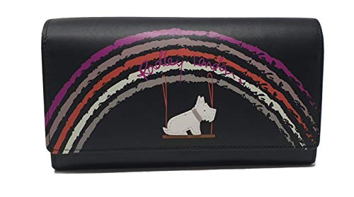 Radley 'Swinging on a Rainbow' Große Matinee-Geldbörse aus glattem, schwarzem Leder - Matinee-geldbörse
