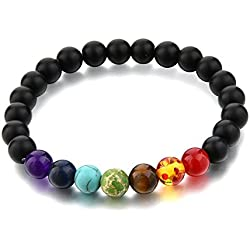 Hot And Bold Black Certified Natural Gem/Semi Precious Stones & 7 Chakra Strand Bracelet For Women , Men, Girls, & Boys