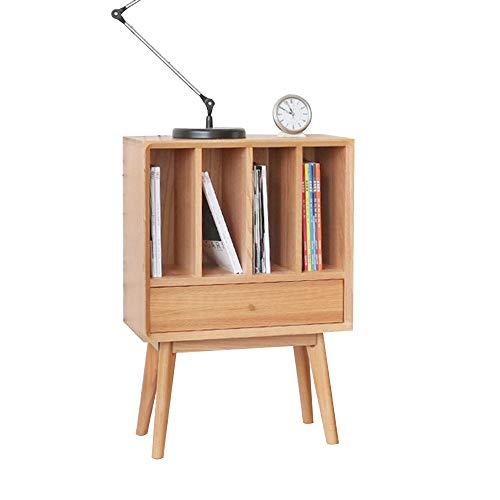 Zr tavolo da parete- comodino in legno massello, 4 scomparti con tavolini laterali, libreria soggiorno studio camera da letto -salva lo spazio (colore : colore del legno)