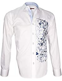 6470ac0a6ab46 Andrew Mc Allister Chemise Brodee flowerty Blanc