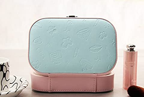 SANNIX Portable Travel Jewelry Accessories Box Cosmetic Lockable Makeup Collection Holder Gift Box with Mirror-(Pink)