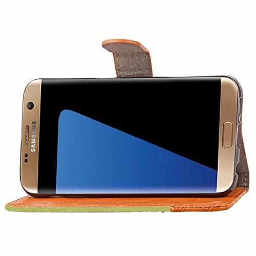 Hülle für Samsung Galaxy S7 Edge, Tasche für Samsung Galaxy S7 Edge, Case Cover für Samsung Galaxy S7 Edge, ISAKEN Farbig Blank Muster Folio PU Leder Flip Cover Brieftasche Geldbörse Wallet Case Leder Verbindung Leinen Grün
