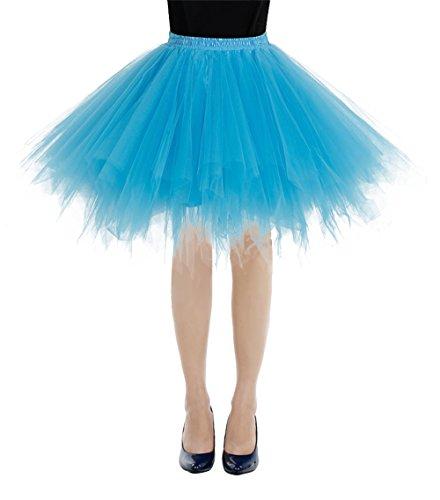 (bbonlinedress Kurz Retro Petticoat Rock Ballett Blase 50er Tutu Unterrock Blue M)