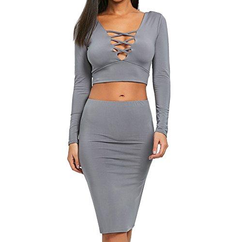 Damen Damen Langarm V-Ausschnitt Rock Sexy Bluse Top Rock 2PC