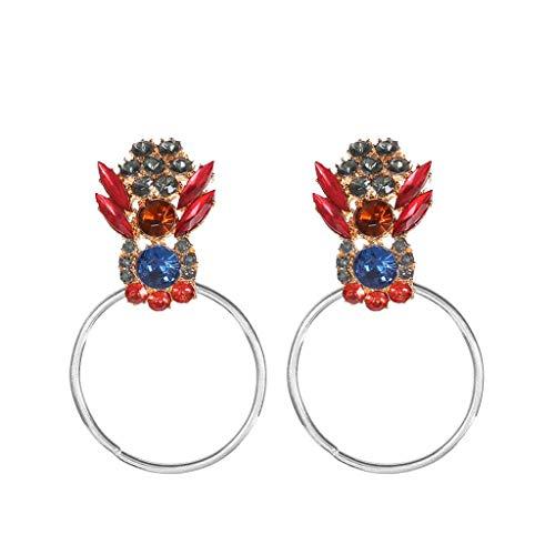 Preisvergleich Produktbild UINGKID Damen Ohrringe Mode Ohrstecker Eleganter böhmischer Metalldiamant-geometrischer runder Ohrring-Schmuck