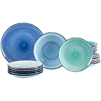 MamboCat 18tlg. Teller-Set Blue Baita | Edles Porzellan-Geschirr | großer Speiseteller + Tiefer Suppenteller + Kuchenteller | 6 Blau-Töne | backofentauglich