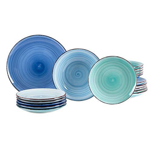 (MamboCat 18tlg. Teller-Set Blue Baita | edles Porzellan-Geschirr | großer Speiseteller + tiefer Suppenteller + Kuchenteller | 6 Blau-Töne | backofentauglich)