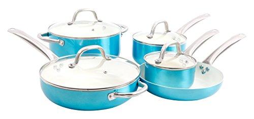 Oster Montecielo 9pc Aluminum Cookware Set, Metallic Turquoise