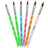 Pennelli di Nail Art Unghie Pittura Gel Acrilico Intaglio dell'Unghia per Nail Art Fai Da Te, Colori Assortiti, 6 Pezzi