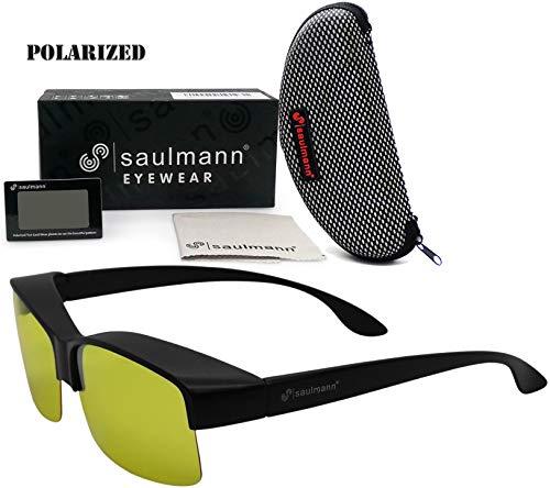 Saulmann® ✅ Polarisierte Unisex Überzieh Blendschutzbrille - Kontrast Outdoor- & Nacht Fahrbrille mit UV-Schutz gegen blendendes Licht und Antireflexbeschichtung - Polbrille SM2179  -