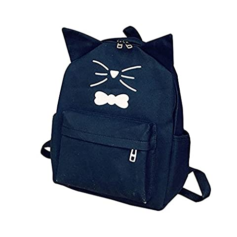 Women Girls Canvas Backpack - Dxlta Cute Cat Ears School Bag Rucksack For Teenagers Students Shopping Travel