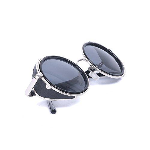 Steampunk Classic estilo Vintage inspirado en un Soldado Imperial 50s redondo de color negro y plateado marco verde puede no estar en español Desafiador gafas de sol Negro negro Talla:talla única